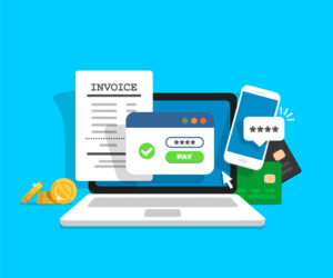 Online payment concept. Laptop with electronic invoice. Financial transaction confirmation via SMS. Coins and card on background. Vector illustration in flat style.
