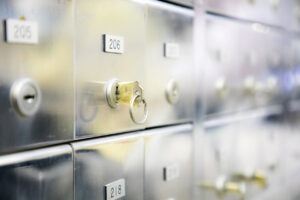safe deposit boxes at the bank
